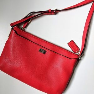Red Coach Pebbled Leather Swingpack